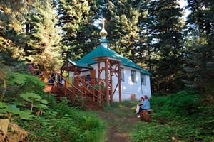 The Chapel of Sts. Sergius and Herman of Valaam, on Spruce Island, built over St Herman's Grave.